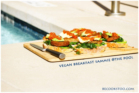 vegan breakfast sammie @ the pool