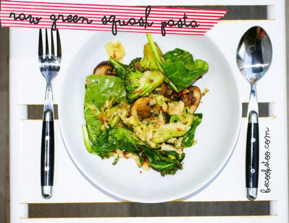 raw green squash pasta!