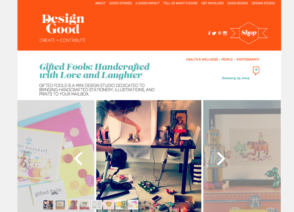 Cool feature on Gifted Fools by Design Good!